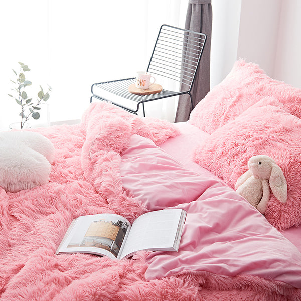 Fluffy Velvet Fleece Quilt Cover Set - Pink