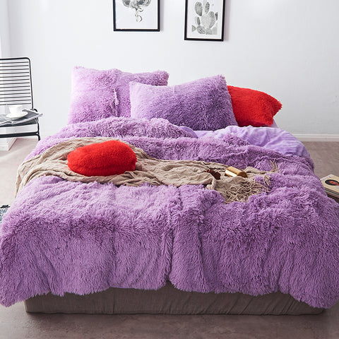 Fluffy Velvet Fleece Quilt Cover Set - Purple