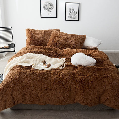 Fluffy Velvet Fleece Quilt Cover Set - Chocolate