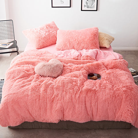 Fluffy Velvet Fleece Quilt Cover Set - Pink Peach