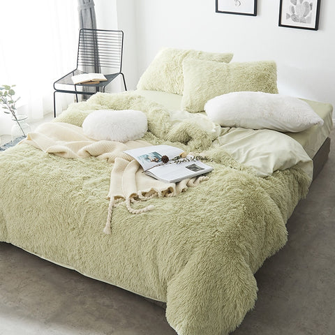 Fluffy Velvet Fleece Quilt Cover and Pillowcases - Soft Green