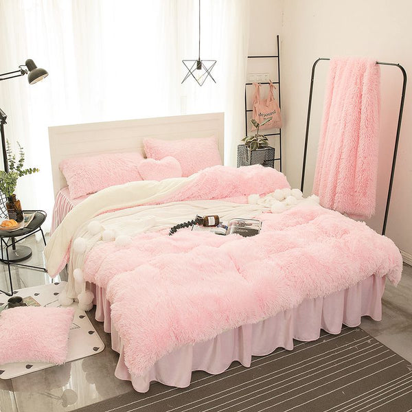 Fluffy Lambswool Quilt Cover Only or with Pillowcases - Soft Pink