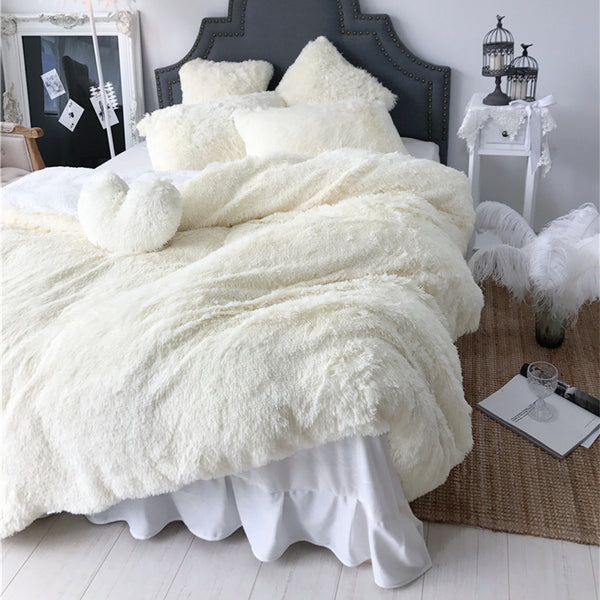 Fluffy Lambswool Quilt Cover Set - Cream