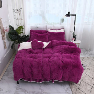 Fluffy Lambswool Quilt Cover Only or with Pillowcases - Deep Purple