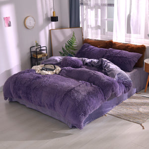 Fluffy Velvet Fleece Quilt Cover and Pillowcases - Misty Purple