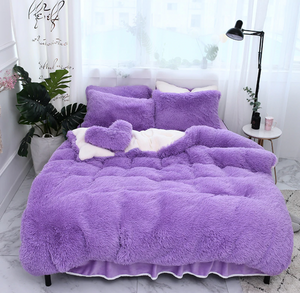 Fluffy Lambswool Quilt Cover Only or with Pillowcases - Purple
