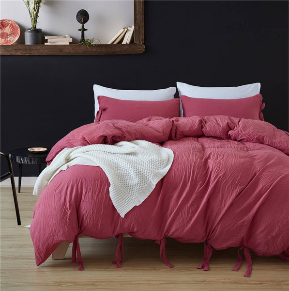Bowknot Bedding Set - Rose Pink