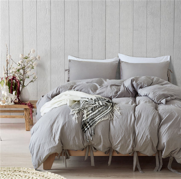 Bowknot Bedding Set - Grey