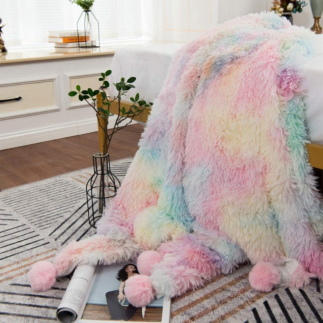Rainbow Fluffy Blanket with PomPoms