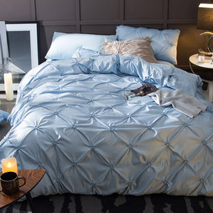 Washed Silk Bedding Set 4pcs - Soft Blue