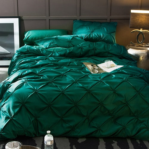 Washed Silk Bedding Set 4pcs - Emerald