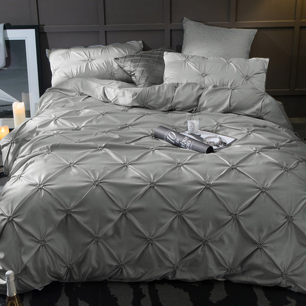 Washed Silk Bedding Set 4pcs - Dark Grey