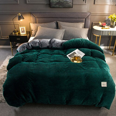 Thick Coral Velvet Flannel Bed Cover Set - Emerald