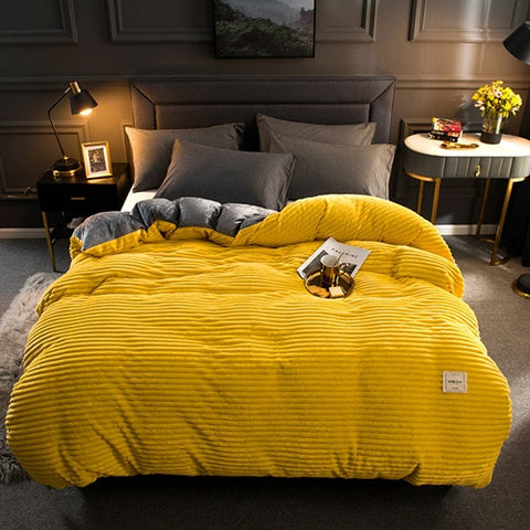 Thick Coral Velvet Flannel Bed Cover Set - Yellow