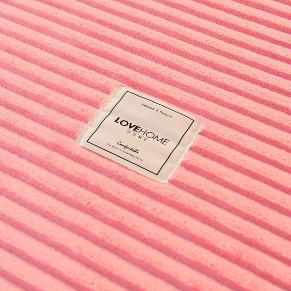 Thick Coral Velvet Flannel Bed Cover Set - Pink