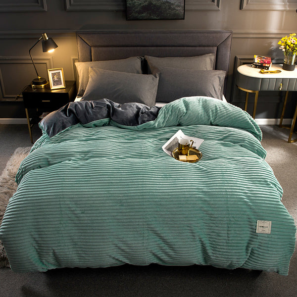 Thick Coral Velvet Flannel Bed Cover Set - Mint