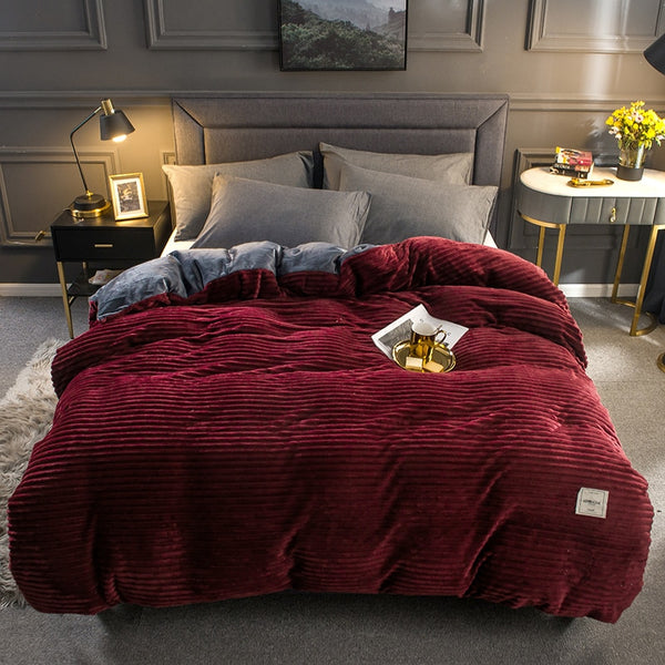 Thick Coral Velvet Flannel Bed Cover Set - Burgundy