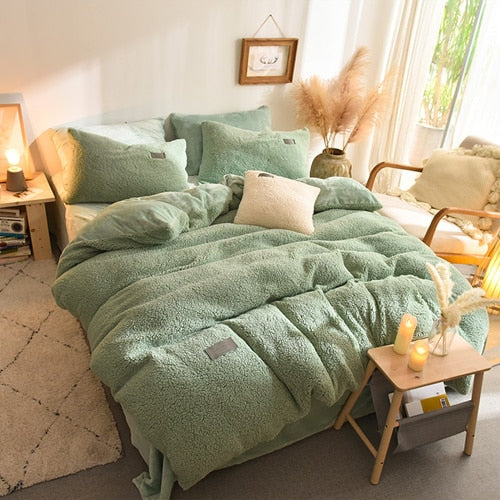 Thick Faux Lambswool Fleece Bed Set - Green