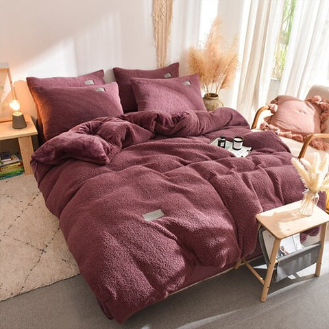 Thick Faux Lambswool Fleece Bed Set - Rose