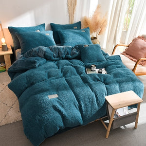 Thick Faux Lambswool Fleece Bed Set - Emerald