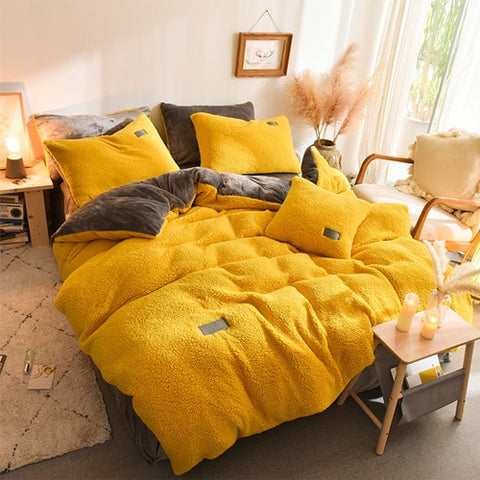 Thick Faux Lambswool Fleece Bed Set - Yellow