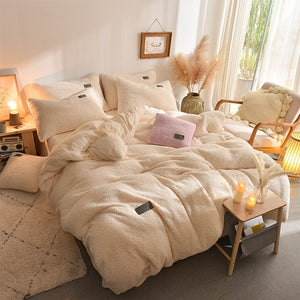 Thick Faux Lambswool Fleece Bed Set - Cream