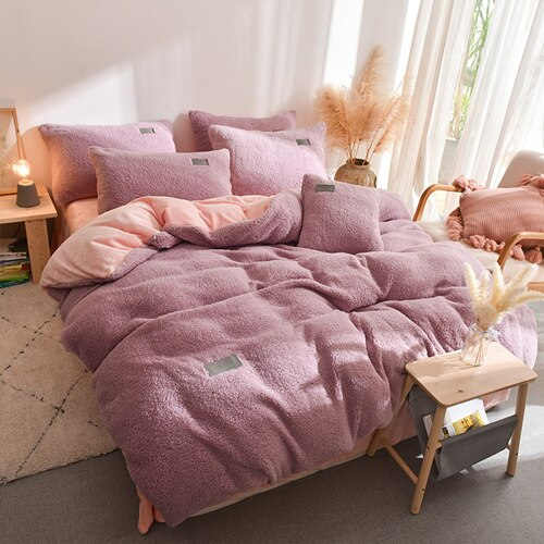 Thick Faux Lambswool Fleece Bed Set - Dust Pink