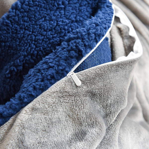 Thick Faux Lambswool Fleece Bed Set - Dark Blue