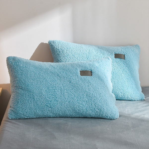 Thick Faux Lambswool Fleece Bed Set - Baby Blue