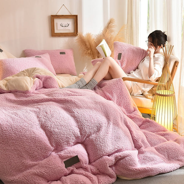 Thick Faux Lambswool Fleece Bed Set - Pink