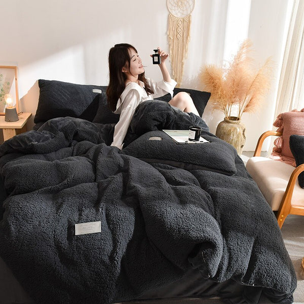 Thick Faux Lambswool Fleece Bed Set - Charcoal