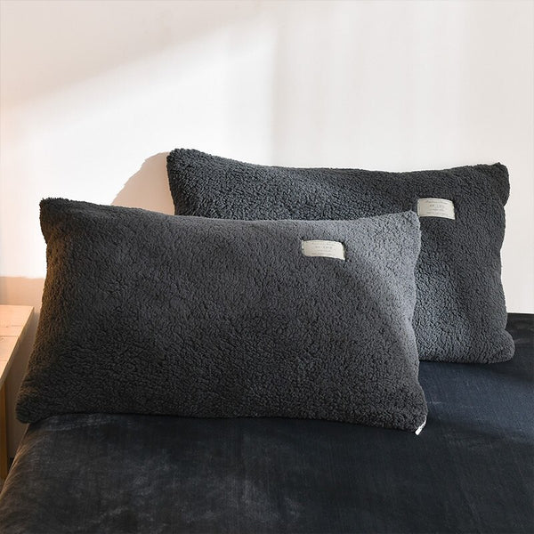 Thick Faux Lambswool Fleece Quilt cover and Pillowcases - Charcoal