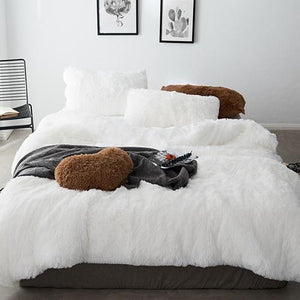 Fluffy Velvet Fleece Quilt Cover Set - White