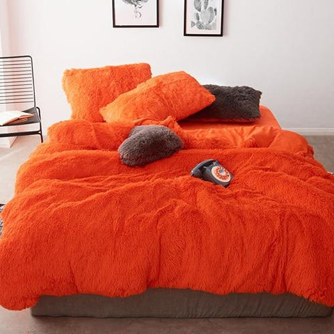 Fluffy Velvet Fleece Quilt Cover Set - Orange