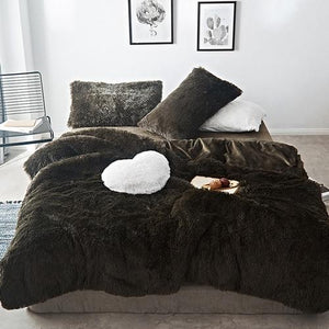 Fluffy Velvet Fleece Quilt Cover Set - Dark Green