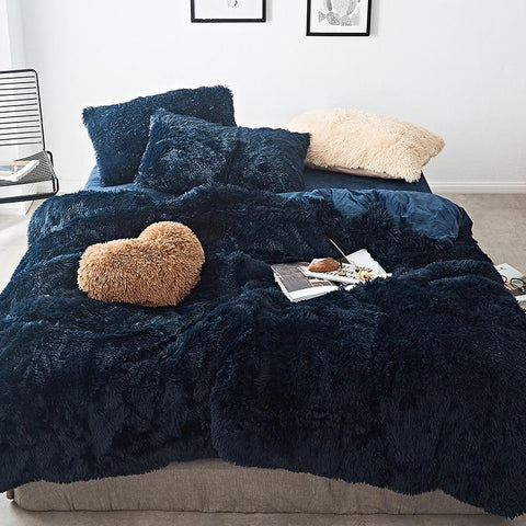Fluffy Velvet Fleece Quilt Cover Set - Dark Blue
