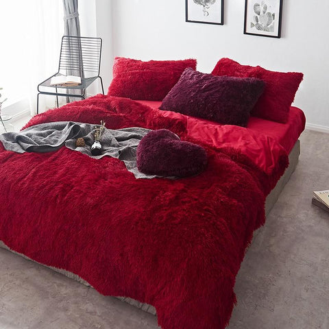 Fluffy Velvet Fleece Quilt Cover and Pillowcases - Red