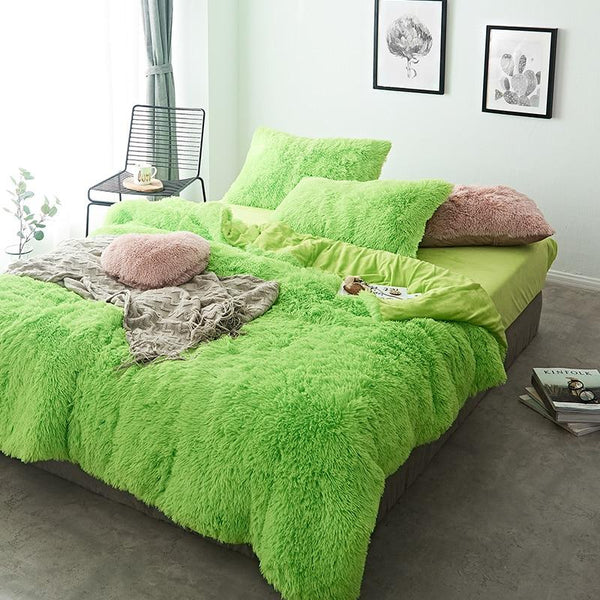 Fluffy Velvet Fleece Quilt Cover Set - Lime Green