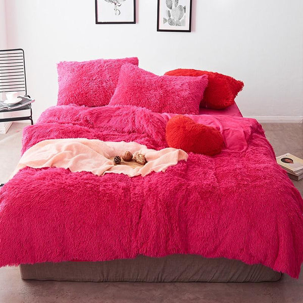 Fluffy Velvet Fleece Quilt Cover and Pillowcases - Hot Pink