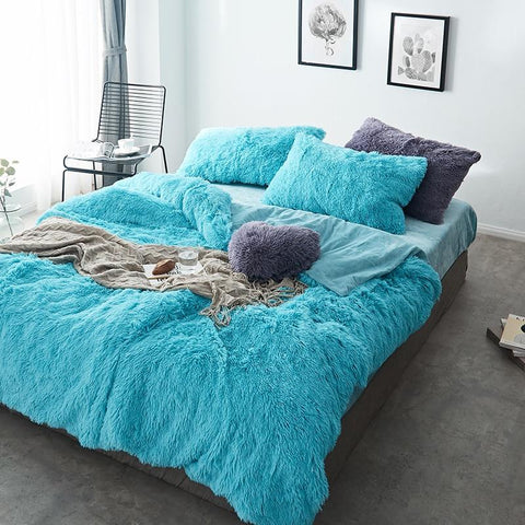 Fluffy Velvet Fleece Quilt Cover and Pillowcases - Turquoise