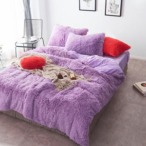 Fluffy Velvet Fleece Quilt Cover and Pillowcases - Light Purple