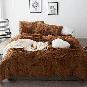 Fluffy Velvet Fleece Quilt Cover and Pillowcases - Brown