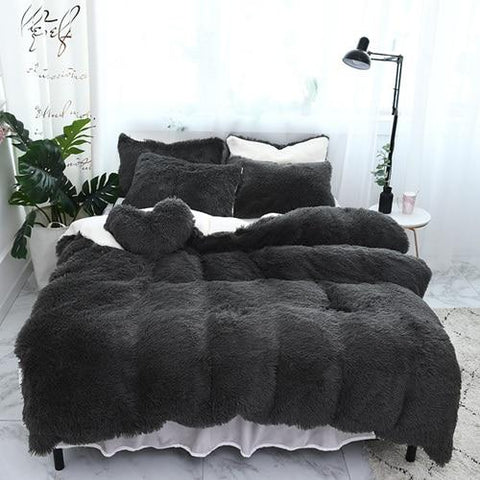 Fluffy Lambswool Quilt Cover Set - Charcoal