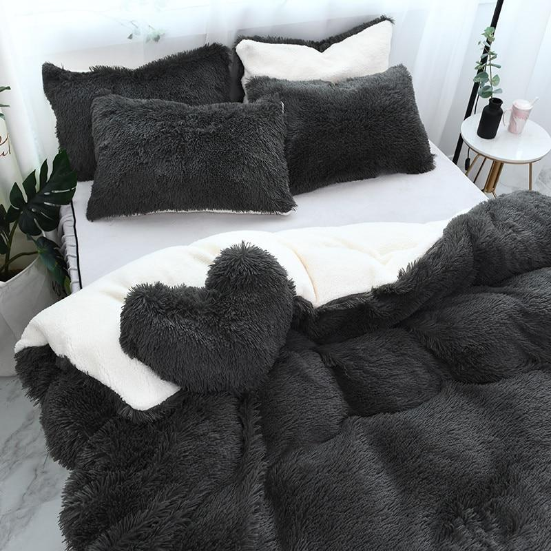 Fluffy Lambswool Quilt Cover Only or with Pillowcases - Charcoal