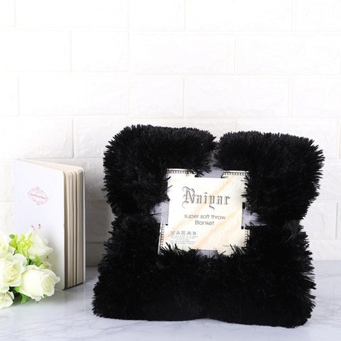 Black Fluffy Velvet Fleece Throw Blanket - Cot to Queen Size