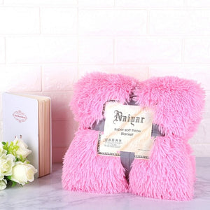 Pink Fluffy Velvet Fleece Throw Blanket - Cot to Queen Size