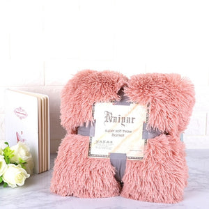 Rose Gold Fluffy Velvet Fleece Throw Blanket - Cot to Queen Size