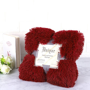 Red Wine Fluffy Velvet Fleece Throw Blanket - Cot to Queen Size