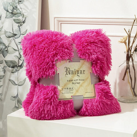 Hot Pink Fluffy Velvet Fleece Throw Blanket - Cot to Queen Size