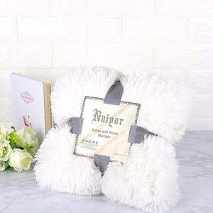 White Fluffy Velvet Fleece Throw Blanket - Cot to Queen Size